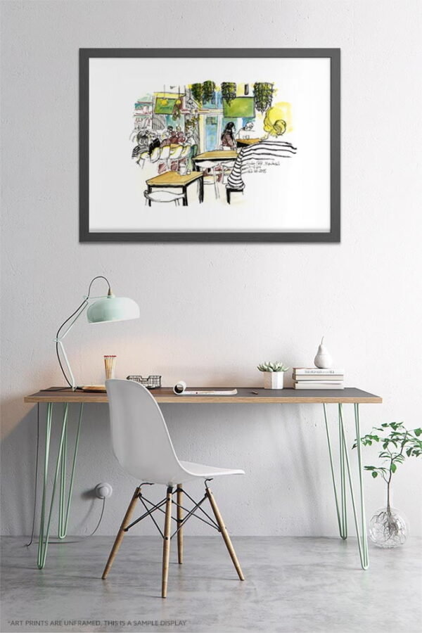 Ginko Cafe Montreal Watercolor Painting by Karolina Szablewska - Home Office Wall Art