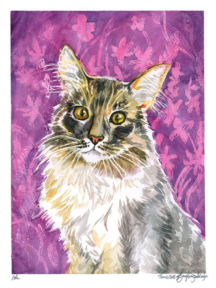 isla watercolor pet portrait cat portrait