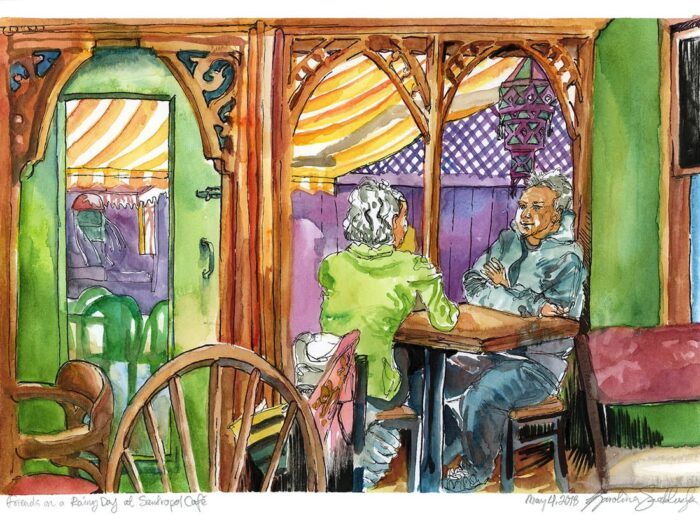 friends on a rainy day at santropol cafe watercolor painting