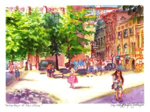 old montreal watercolor painting by karolina szablewska