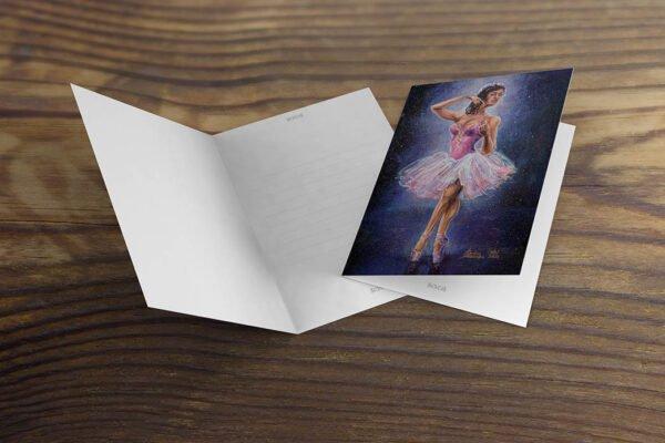 Ballerina in Spotlight Greeting Cards by Karolina Szablewska