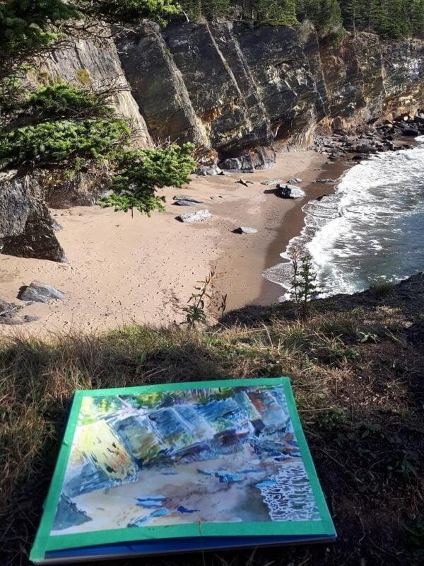 Watercolor Painting Original Art - Hirtle Beach, Nova Scotia, Canadian Landscape by Karolina Szablewska