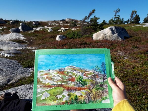 Watercolor Painting Original Art - Rock at Prospect, Nova Scotia, Canadian Landscape Painting by Karolina Szablewska