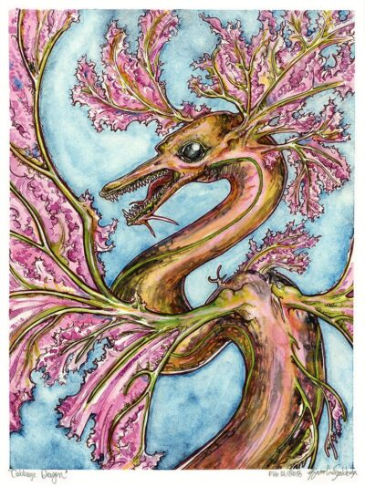 Cabbage Dragon watercolor painting