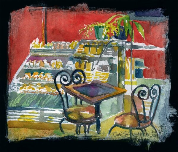 cafe saint henri watercolor sketch