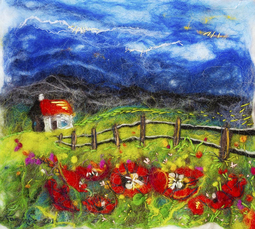 wet felting painting of poppy field