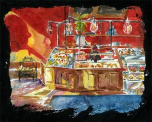 Cafe Saint-Henri watercolor painting