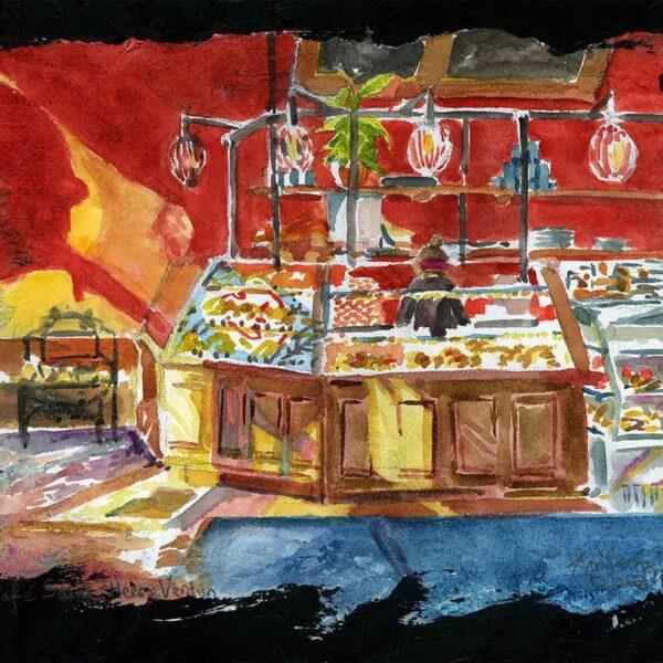 Cafe Saint-Henri watercolor painting
