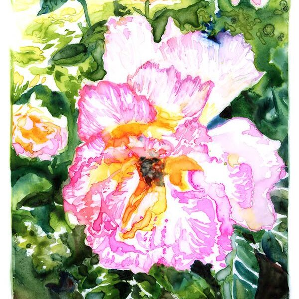 mottled rose watercolor on yupo paper