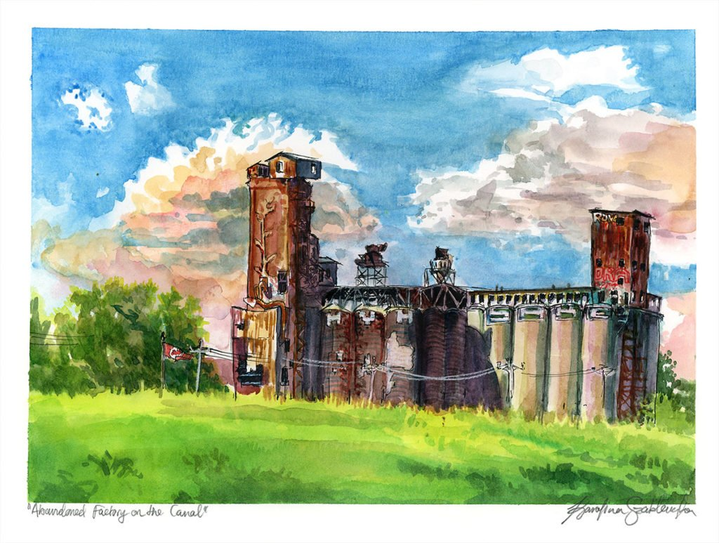 Abandoned Factory on Lachine Canal watercolor painting
