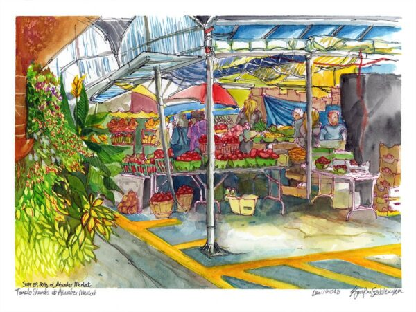 Tomato Stands at Atwater Market watercolor painting