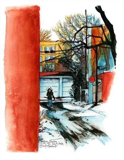 Alley in Verdun Quebec -9C watercolor painting
