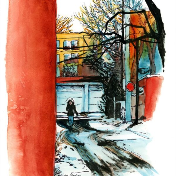 Alley in Verdun Quebec watercolor painting by karolina szablewska