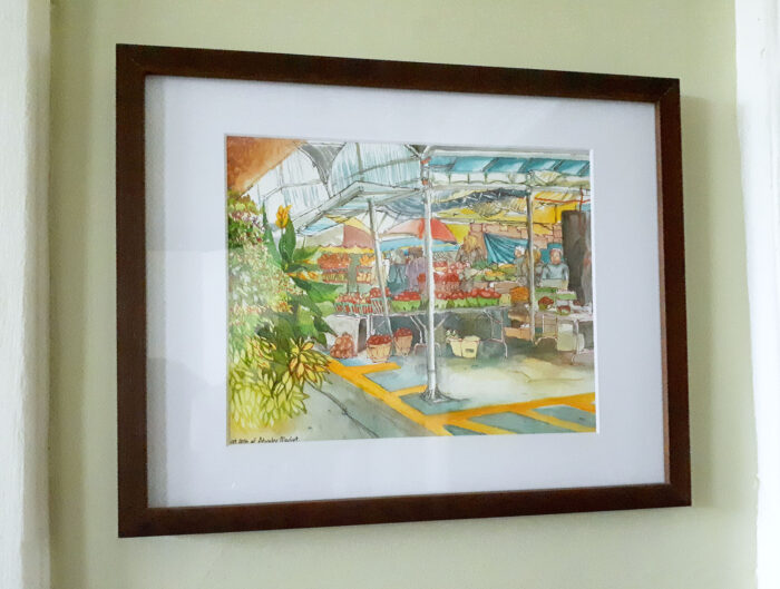 Watercolor Painting Original Art - En Plein Air Painting of Tomato Stands at Atwater Market / Montreal Travel Art by Karolina Szablewska