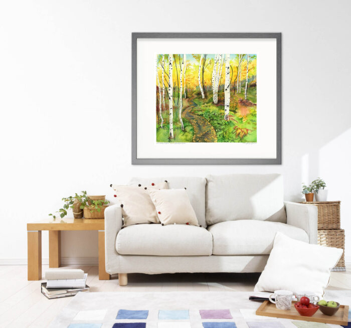 Yellow Birch Forest Painting / Canadian Landscape Watercolor Painting Original Art of Grands-Jardins National Park by Karolina Szablewska