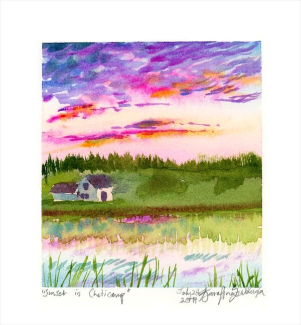 sunset in cheticamp en plein air watercolor painting