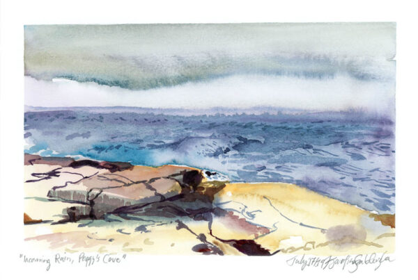incoming rain peggy's cove nova scotia en plein air watercolor painting