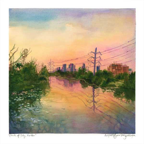 montreal watercolor sunset painting by karolina szablewska