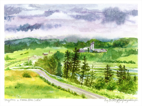 dairy farms mabou nova scotia en plein air watercolor painting by karolina szablewska