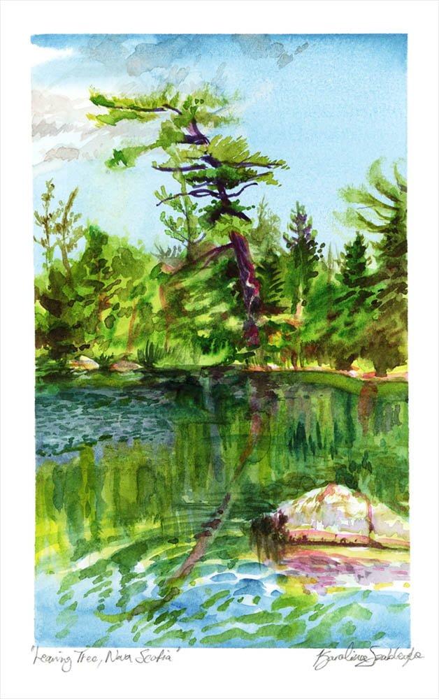 leaning tree nova scotia en plein air watercolor painting by karolina szablewska