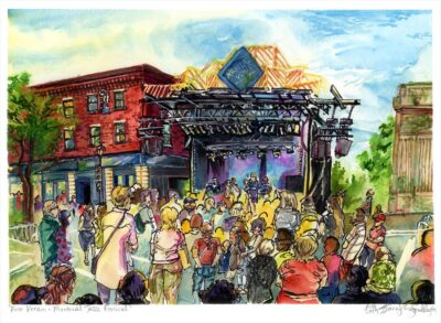 montreal jazz festival en plein air watercolor painting by karolina szablewska