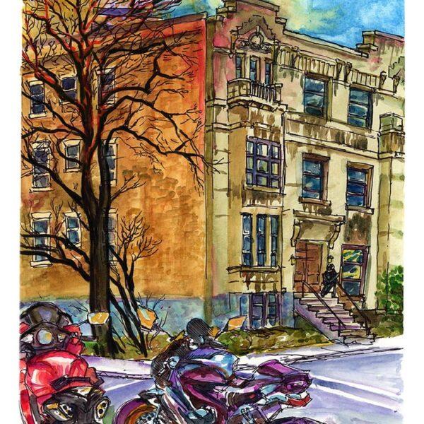 parked motorcycles montreal watercolor painting urban sketch by karolina szablewska