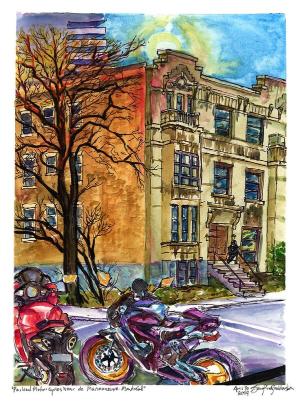 parked motorcycles montreal watercolor painting urban sketch by karolina szablewska
