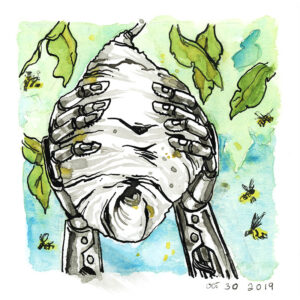 inktober cyborgs ink drawings wasp hive robot hands