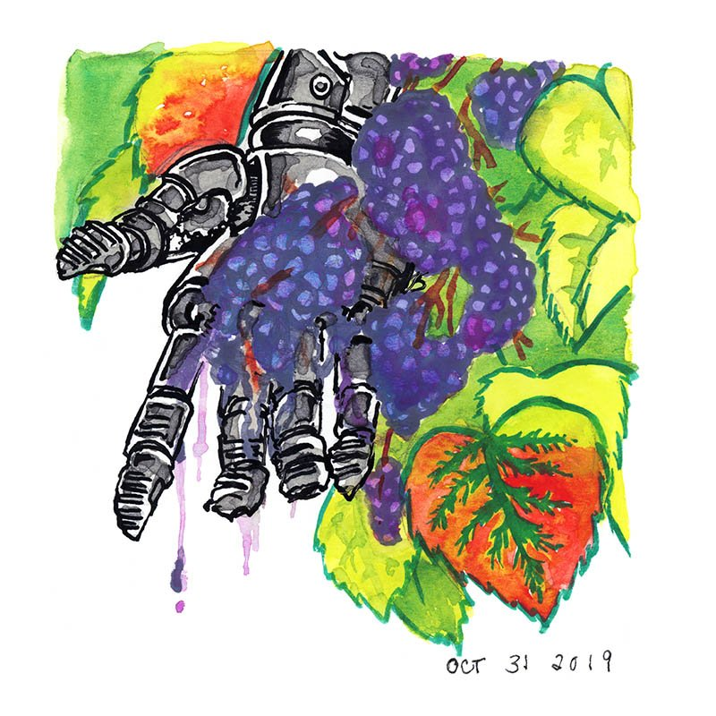 inktober cyborgs ink drawings ripe grapes robot hand