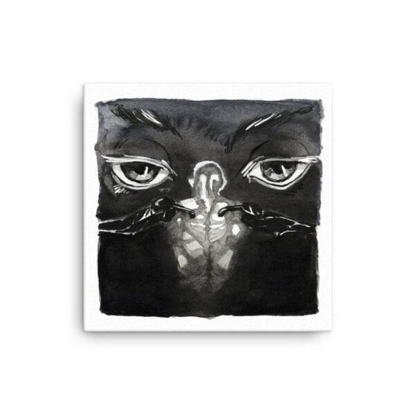 Black and White Canvas Wall Art - Inktober Cyborgs No. 026 by Karolina Szablewska