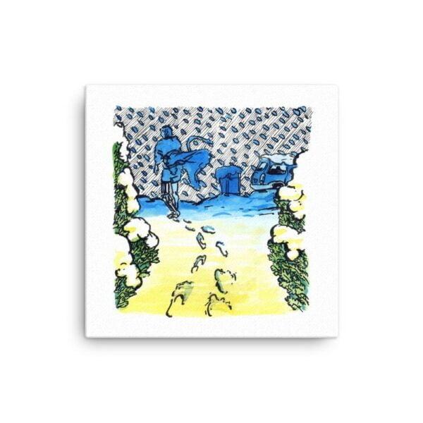 Yellow and Blue Canvas Wall Art - Inktober Cyborgs No. 011 by Karolina Szablewska
