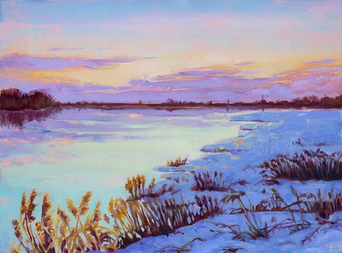 winter landscape painting, sunset painting, oil painting of Saint Laurent river