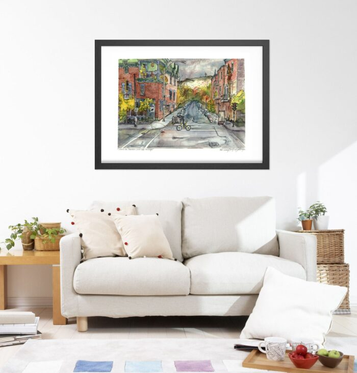 Montreal Art - Extra Large Wall Art Prints of Santropol Cafe, Mont Royal, Quebec, Canada in Watercolor and Ink by Karolina Szablewska