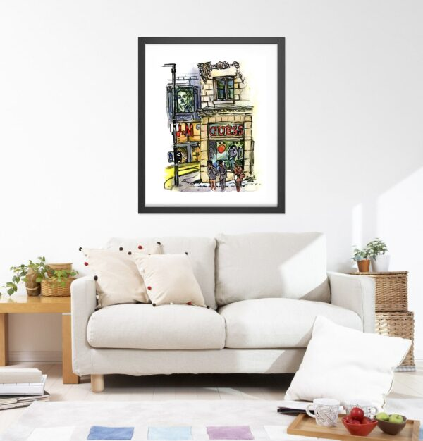 Montreal City Art - Extra Large Wall Art Prints of Guess on Rue Saint Catherine in Watercolor and Ink by Karolina Szablewska