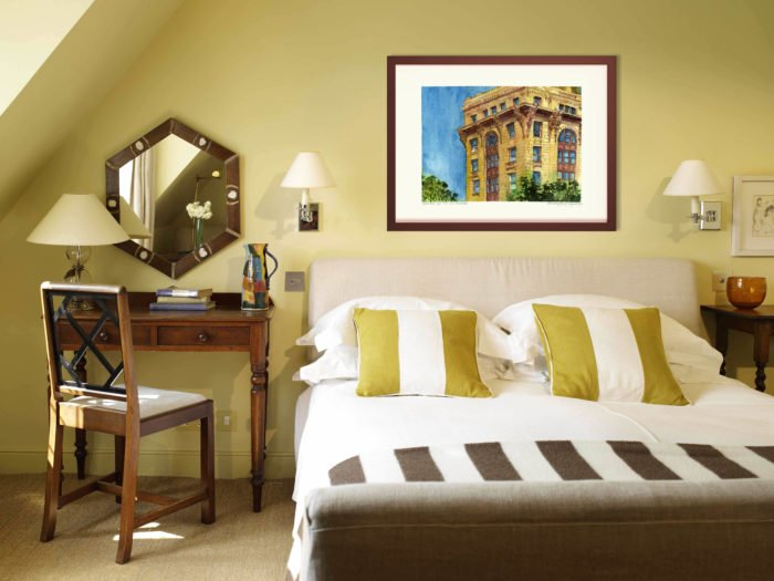 Old Montreal Art Prints - Extra Large Wall Art of French Architecture Building in Watercolor by Karolina Szablewska