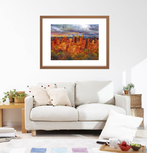 Montreal Art - Extra Large Wall Art Prints of Mont Royal During Sunset, Watercolor Painting by Karolina Szablewska