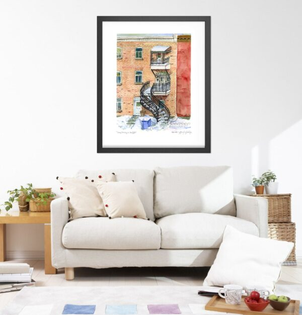 Montreal Art Prints - Snowy Townhouse on Rue Galt, Verdun - Extra Large Wall Art by Karolina Szablewska