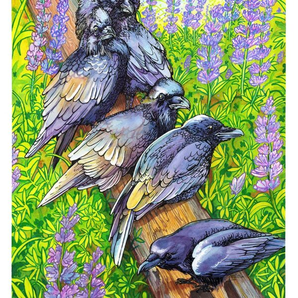 Murder of Crows with Lupins watercolor painting by Karolina Szablewska