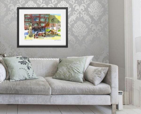 Downtown Montreal Art - Hudson Bay Company Extra Large Wall Art in Watercolor by Karolina Szablewska