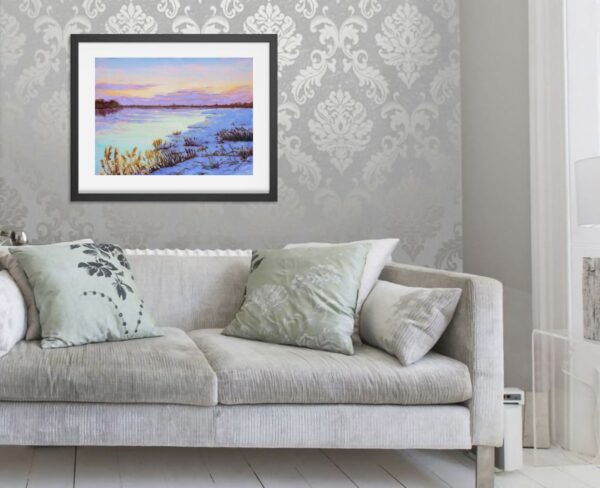 Art Prints - Winter Landscape Painting - Canadian Landscape of a Winter Sunset in Montreal by Karolina Szablewska