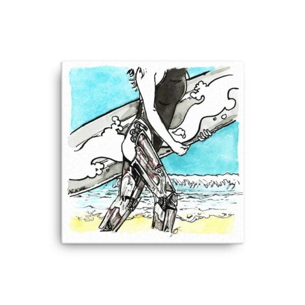 Beach Canvas Wall Art - Inktober Cyborgs No. 016 by Karolina Szablewska