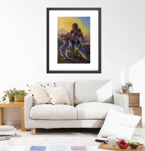 Cyborg Art Prints - Sci-fi Extra Large Wall Art / Dark Surreal Oil Painting / Classical Renaissance Pieta by Karolina Szablewska