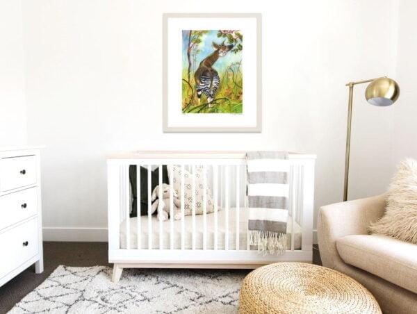 Okapi Art Prints - Extra Large Wall Art of Okapi with Embroidery / Animal Nursery Decor / African Safari Wildlife Art by Karolina Szablewska