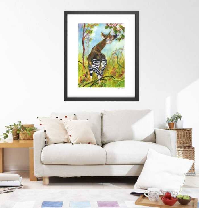 Okapi Art Prints - Extra Large Wall Art of Okapi with Embroidery / Animal Nursery Decor / African Safari Wildlife Art by Karolina Szablewska
