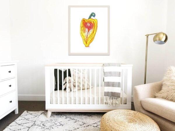 Yellow Pepper Art Prints - Kitchen Extra Large Wall Art / Food Art / Inktober Ink Drawing of a Pepper / Vegetable Print / Farmhouse Decor by Karolina Szablewska