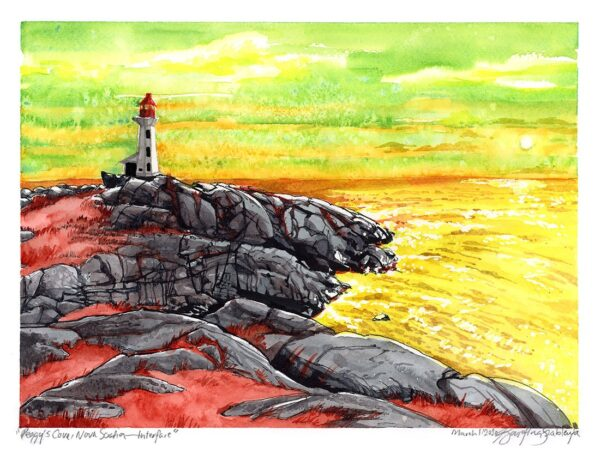 Original Art - Peggy's Cove, Nova Scotia, Canadian Landscape Painting / Ocean Art / Lighthouse Art / Surrealism by Karolina Szablewska