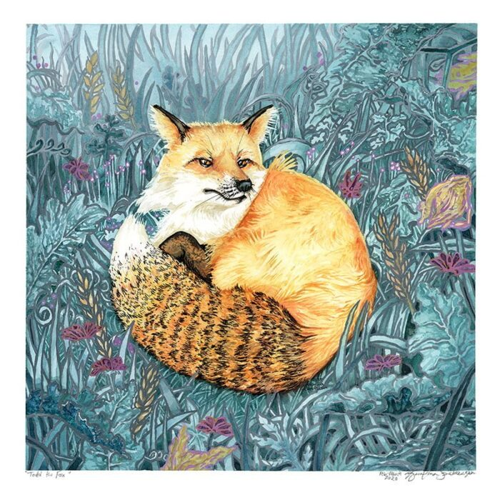 Red fox watercolor painting by Karolina Szablewska, Todd the Fox from Save a Fox Rescue
