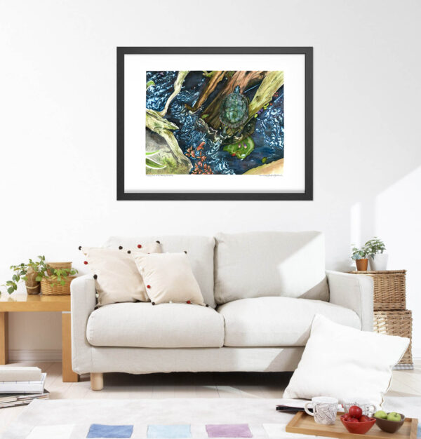 Turtle Art Prints - Extra Large Wall Art of Turtle Watercolor Painting / Animal Nursery Decor / Calm Blue Hygge Decor by Karolina Szablewska
