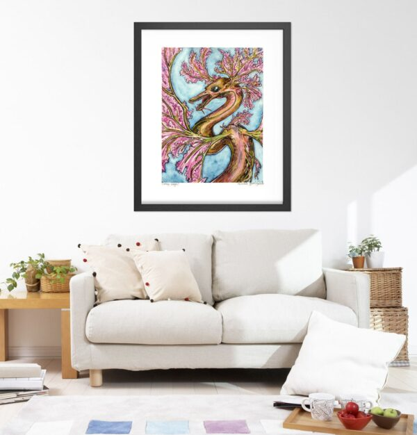Pink Dragon Art Prints - Extra Large Wall Art of Watercolor Dragon Painting / Fantasy Decor Art / Dragon Decor by Karolina Szablewska