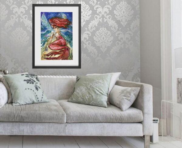 Fairy Mermaid Art Prints / Fantasy Decor / Ocean Art / Boho Beach Decor by Karolina Szablewska